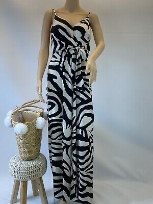 $ CDN69.07 • Buy River Island Boho Casual Party Cocktail Animal Print Satin Jumpsuit Size10