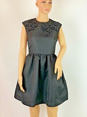 $ CDN69.07 • Buy Louche Luxe Beaded Flared Elegant Retro Fit And Flare Black Dress Size 10-12