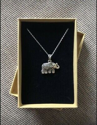 £15 • Buy Sterling Silver Elephant Pendant With Swarovski Marcasite On Silver Chain