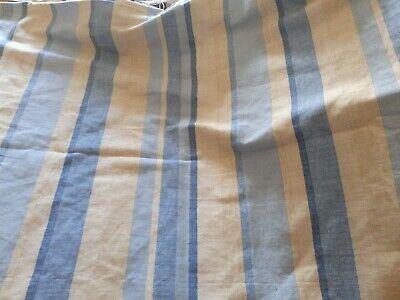 £15 • Buy 1.8 Metres Laura Ashley Awning Stripe Cotton Fabric Blue Taupe