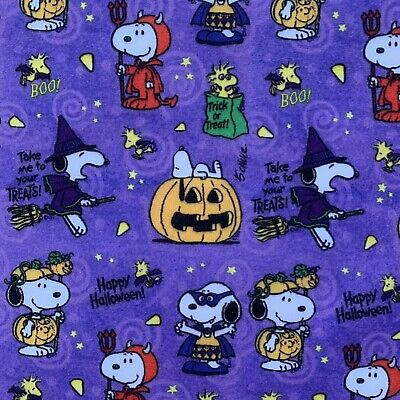 £4.50 • Buy Fq Snoopy Halloween Pumpkins Charlie Brown Character Polycotton Fabric