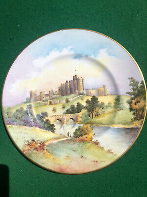 £88 • Buy Large Minton Cabinet Plate - Hand Painted Castle & Gilt Jewelling - Signed Anne