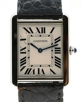 $2199.95 • Buy Men's Cartier Tank Solo 3169 Large 27.4mm Stainless Steel Leather Watch With Box