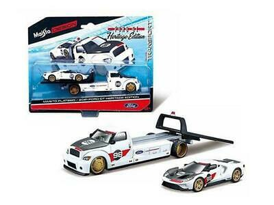 $9.88 • Buy Maisto 1:64 Elite Transport Heritage 2021 Ford Gt & Flatbed #98 White 15108 21a