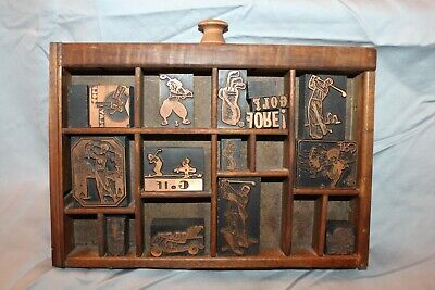 AU93.73 • Buy Antique Small Printers' Type Tray 16 Golf Type Pieces Vtg 14 Sections B1R