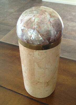 $262 • Buy Maitland Smith Tessellated Stone & Mother Of Pearl Cylindrical Box 9 3/8  EUC