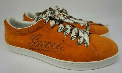 AU244.58 • Buy Gucci Men's Orange Suede Perforated Logo Sneakers Shoes Size 7.5 G / 8.5 US