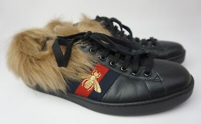 AU244.58 • Buy Gucci Men's Ace Bee Fur Shearling Lining Sneakers Black Leather Shoes Size 8.5 G
