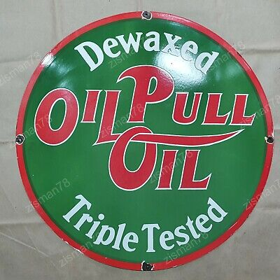$ CDN191.97 • Buy Oil-pull Vintage Porcelain Sign 30 Inches Round