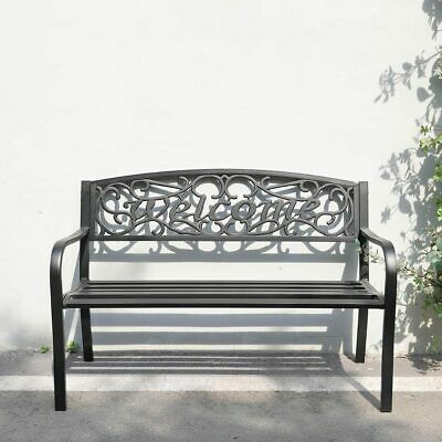 £109.95 • Buy WELCOME Pattern Metal Garden Bench 2/3 Seater Porch Patio Park Chair Seat Lounge
