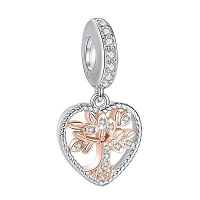 AU28.99 • Buy S925 Silver & Rose Gold Pl Family Tree Heritage Heart Charm By Pandora's Wish