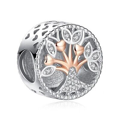 AU26.99 • Buy S925 Silver & Rose Gold Pl Sparkling Family Tree Forever Charm By Pandora's Wish
