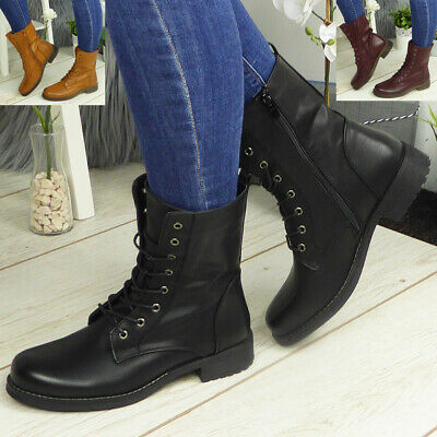 £19.94 • Buy Ankle Boots Shoes Ladies Biker Zip Lace Up Army Combat Winter Casual Womens Size