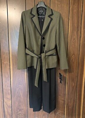 £72.35 • Buy Kasper Pant Suit Size 8 New With Tags Olive Green Plaid Belted Retails $200