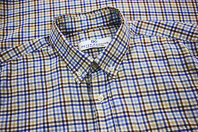 $29.99 • Buy Peter Manning New York Mens Light Flannel L/S Button Down Shirt Gingham Size 4