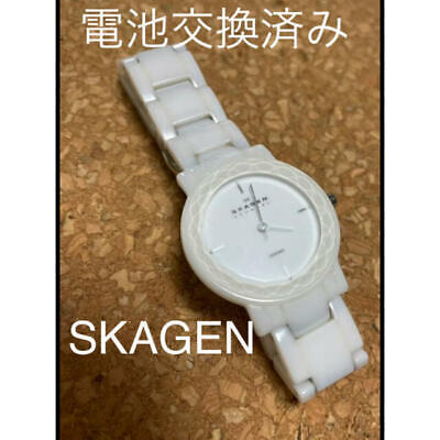 £93.56 • Buy Skagen Battery Replaced White Ceramic Lady Excellent #3995