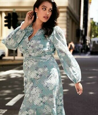 AU40 • Buy EUC - FOREVER NEW Curve Dobby Midi Dress In Floral Print - Size 16 - $169.99