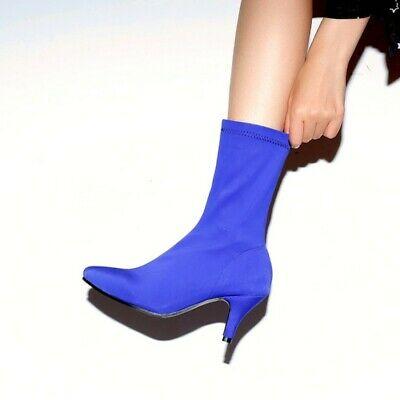 £36.78 • Buy Fashion Womens Slim Heel Pointy Toe Pull On Elastic Ankle Boots Plus