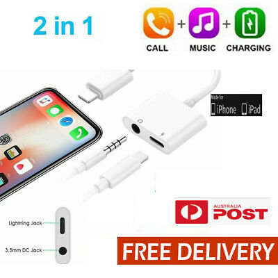 AU9.95 • Buy 2in1 8 Pin To 3.5mm Aux Headphone Jack Charger Adapter IPhone 12 11X XR XS Max 8