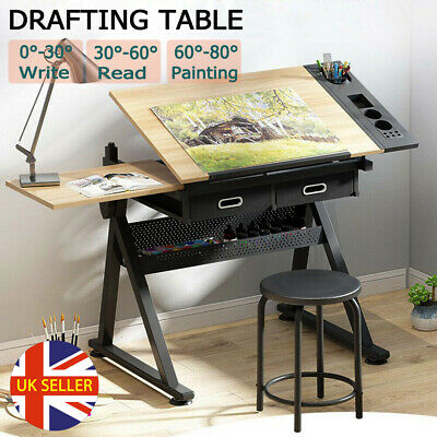 £79.98 • Buy Adjustable Drafting Table Art Craft Drawing Desk W/ Stool Drawer Architect Stand