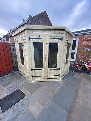 £2010 • Buy Garden Shed Corner Summer House Tanalised Ultimate Heavy Duty 8x8 22mm T&g. 3x2