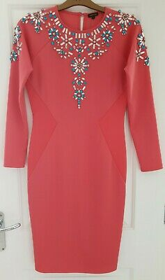 £10 • Buy Stunning RIVER ISLAND Womens Embellished Bodycon Coral Pink Dress UK Size 12