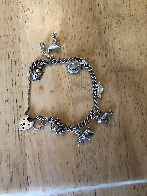 £19.99 • Buy Vintage Solid Silver Charm Bracelet - Animal Themed 7 Charms - 32.37 Grams