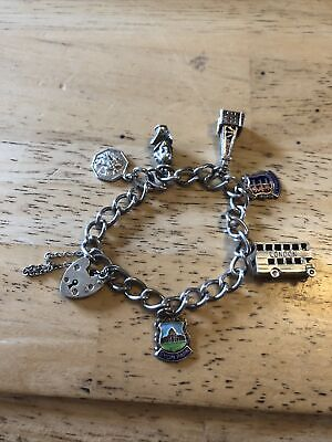 £15.99 • Buy Vintage Solid Silver Charm Bracelet With 6 Charms - Sightseeing/ Places 28 Grams