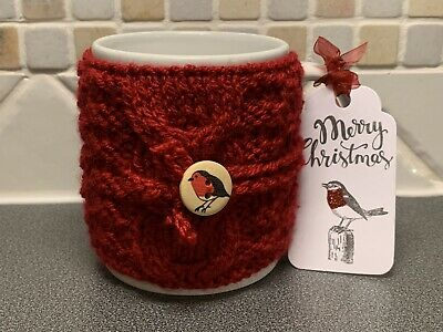 £1.99 • Buy Hand Knitted Red Christmas Mug Cosy With Cute Robin Button
