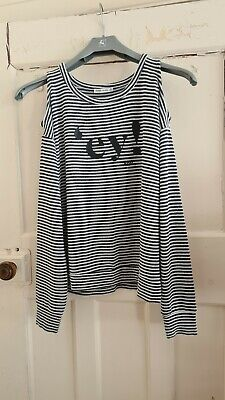 AU3.74 • Buy Bershka Size S Blue  White Stripe Cold Shoulder Long Sleeve Knitted Top Nautical