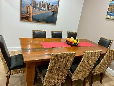 AU900 • Buy Used Dining Table And 8 Chairs - Pure Solid Wood, Leather And Rattan