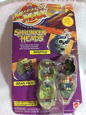 £14.54 • Buy Mighty Max Shrunken Heads Wraptile & Brain Face 1993 Factory Sealed
