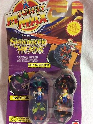 £14.54 • Buy Mighty Max Shrunken Heads Roc Monster & Insectoid 1993 Factory Sealed