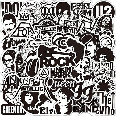 £3.99 • Buy 50 Rock Stickers Metal Punk Bands Guitar Amp Music Decal Stickerbomb Skateboard