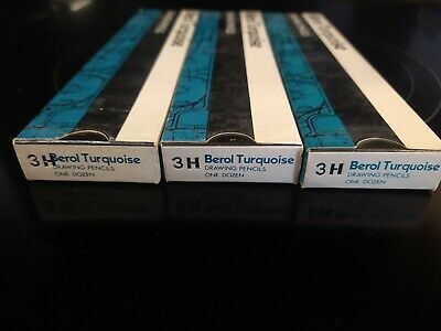 £10 • Buy 3 Packs Of 12 Berol Turquoise Drawing Pencils  3H The Professional Line
