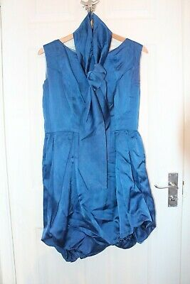 £9.99 • Buy Ex Hire Tina Turner Silk Style Blue Playsuit + Scarf Size 10 Fancy Dress Costume