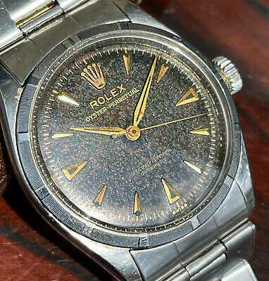 $ CDN3210.07 • Buy Vintage Rolex Oyster Perpetual 6285 Tropical Black Dial Bubbleback Watch & Band