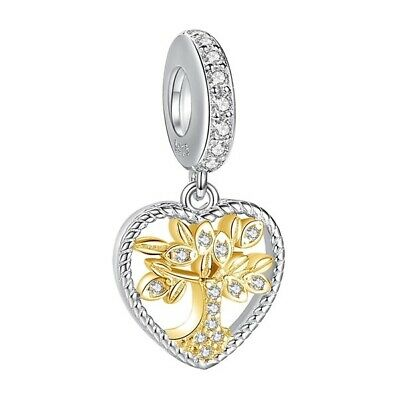 AU27.99 • Buy S925 Silver & 14K Gold PL Family Tree Heritage Heart Charm  By YOUnique Designs