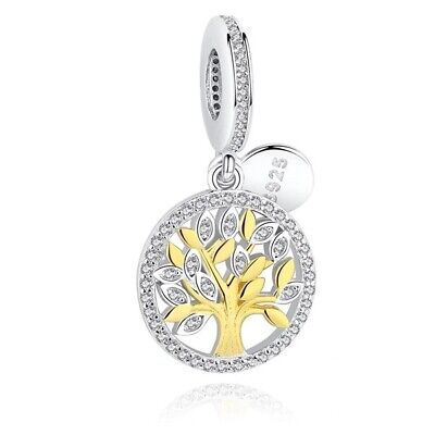 AU27.99 • Buy S925 Silver & 14K Yellow Gold Our Family Tree Heritage  Charm By Pandora's Wish