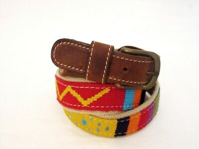 $34 • Buy A Tail We Could Wag Cotton Canvas Leather Brass Belt USA 34
