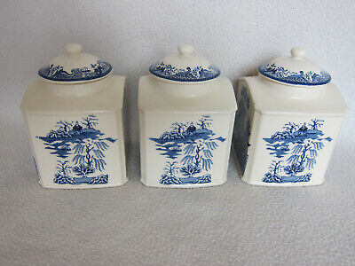 £15 • Buy 3 X Mason's Blue And White Willow Pattern Square Lidded Tea,Coffee,Sugar Caddies