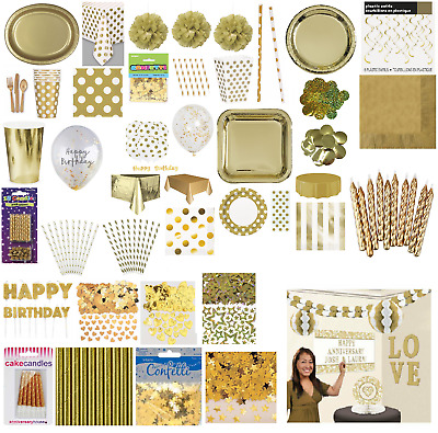 £3.39 • Buy Gold Birthday Wedding Party Tableware Supplies Disposable Paper Plates Napkins