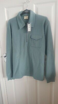 £15.99 • Buy Mens Green Textured Long Sleeve Polo Shirt Size L From Marks And Spencer...