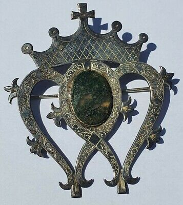 £35 • Buy Luckenbooth Brooch Sterling Silver Moss Agate Mary Queen Of Scots