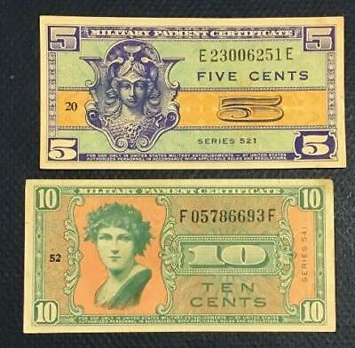 $7.51 • Buy Military Payment Certificates Set Of 2 MPCs! FIVE CENTS 521 & TEN CENTS 541!