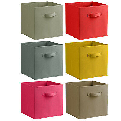£4.99 • Buy Coloured Woven Folding Storage Boxes Baskets Wardrobe Underbed Clothes Kids Toys