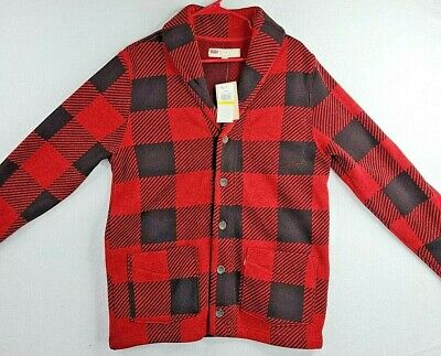 $19.57 • Buy Levis Mens Red Gingham Long Sleeve Shawl Collar Button Down Sweater M  135-3236