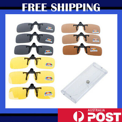 AU6.25 • Buy Clip On Flip Up Polarized Sunglasses Lens UV Driving Eyewear Spectacle Extension
