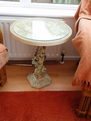 £39.99 • Buy Chinese Round Table Unusual With Dragon Patterns And Top Glass