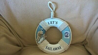 £2 • Buy Seaside Ornaments WOODEN LIFEBELT WITH ROPES WALL HANGING